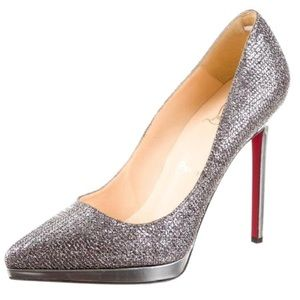 Silver Glitter Pewter Pigalle Plato 120mm Pumps